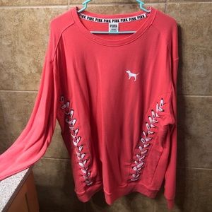 Coral oversized Victoria's Secret PINK sweatshirt